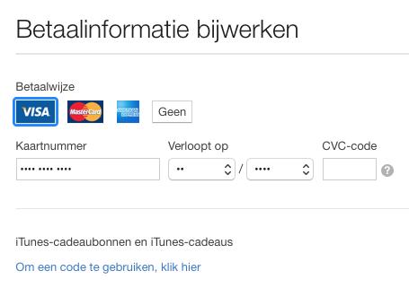 iTunes betaalmethode