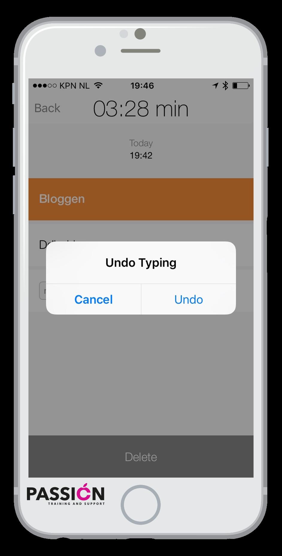 undo typing iphone